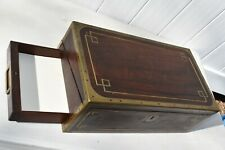 Genuine English Antique Walnut Brass Inlay Lap Desk With Side & Secret Drawer