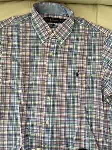 New Ralph Lauren Classic Men's Pink/Blue Plaid 100% Cotton Stretch Shirt size M