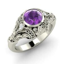 Certified 0.72 Ct Natural Amethyst & Diamond 14k White Gold Engagement Ring