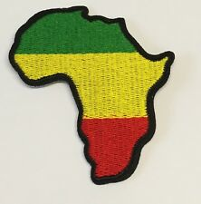 Africa Continent Patch Map Green Yellow Gold Red Embroidered Iron Sew On Rasta