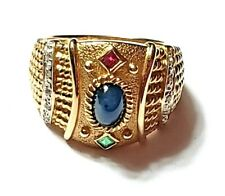 Vintage Etruscan Style Ring, 14K Yellow Gold, Natural Ruby Sapphire Emerald