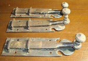 Stunning Lot of 3 Colonial Original Antique iron Door latches 8 inches long