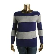 Private Label 6976 Womens Navy Cashmere Colorblock Crewneck Sweater Top XL BHFO