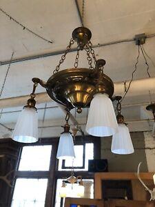 Edwardian Four Light Bronze Tone Brass Pan Light Fixture Chandelier Re Wired