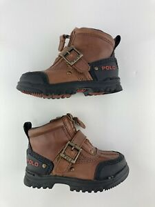 Polo Ralph Lauren Conquest Brown Black Zip Up Strap Boots Toddler Size 7