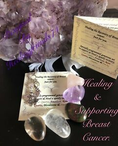 Breast cancer recovery & support. Healing Crystal gemstone set. chakra Gift.