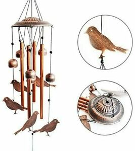 BlessedLand Bird Wind Chimes-4 Hollow Aluminum Tubes -Wind Bells and Birds-Wind