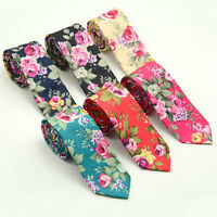 Men's Cotton Slim Skinny Wedding Groom Party Necktie Print Floral Ties