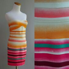 Herve Leger Dress Bandage Body Con Orange Red Stripe NWT New Orig $1400 Sz L