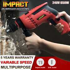 240v Hammer Drill Corded Electric 650w Variable Speed Reverse Control Impact Set