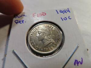 E100 Dominican Republic 1944 10 Centavos AU