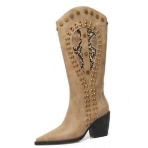 Women's Western Cowboy Low Heel Mid Calf Knee High Boots Pointy Toe Shoes 34-42