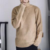 Men's Turtleneck Long Sleeve Knitting Slim Solid Sweater Jumper Pullovers TOP