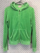 Juicy Couture Womens Large Zip Up Hoodie Green Velour Long Sleeve Casual
