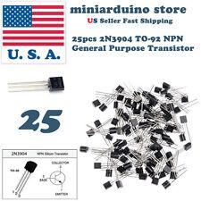 25Pcs 2N3904 TO-92  common NPN bipolar junction general purpose transistor USA