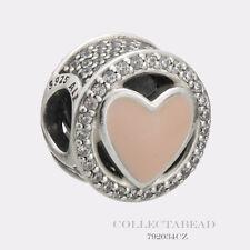 Authentic Pandora Silver Wonderful Love Soft Pink Enamel CZ Bead 792034CZ