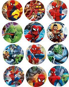 12 x 5cm Edible Spiderman *PRECUT* Icing Cupcake Toppers