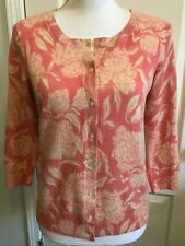 TALBOTS Womens CASHMERE Cardigan Sweater PINK Beige Floral 3/4 Sleeves Size MP