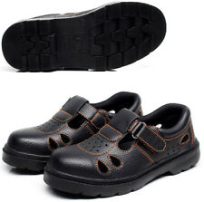 New Mens Steel Toe Cap Work Boots Safety Leather Sandals Summer Workwear Shoes