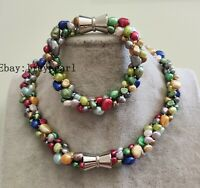 Perle Set - 3 Stränge 6-9 mm Mehrfarbig  Baroque Perle Halskette & Armband