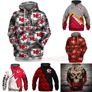 Kansas City Chiefs Hoodie Fan's Hooded Pullover Sweatshirt Casual Jacket Coat