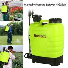 Portable 4 Gallon Pressure Sprayer Knapsack 16L Garden Yard Weed Chemical Yellow