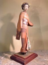 "Antique Asian Geisha Girl Hand Carved Walnut Signed 15"" Tall"