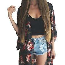 Women Floral Print Long Loose Kimono Jacket Coat Cardigan Blouses Top S/M/L/XL