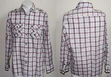 Genuine Pierre Cardin Fashion Designer Mens Shirt Size L White / Red Checked