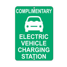 Vertical Metal Sign Multiple Sizes Complimentary Electric Vehicle Charging Green