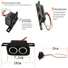 12V Car Motorcycle Durable Metal Cigarette Lighter 2 Soket W/Fuse Phone Charger