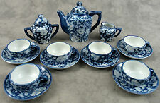CHILD'S IRONSTONE BLUE CALICO FLORAL 15 Piece MINIATURE TEA SET SERVICE FOR 6