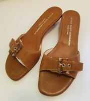 New AGL Light Brown Sandals with stones Size 39 Soft Nappa Leather Kitten Heel