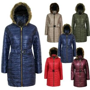 Latest Women's Ladies Shiny Wet Look Belted Long Quilted Fur Hooded Jacket Coat