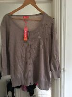 BNWT Monsoon Size 22 Mink Brown Sequin Embellished Cardigan RRP £50