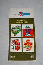 Vintage Amtrak Railroad National Schedule October 28, 1973