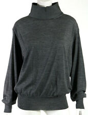 CELINE Charcoal Gray Melange Wool Knit Wide Mock Collar Sweater L
