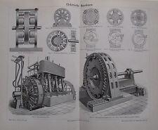 1892 ELEKTRISCHE MASCHINEN alter Druck Antique Print Lithografie