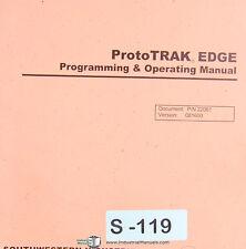 Southwestern ProtoTrak, Edge, Programming & Operations Self Training Manual 2001