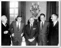 Billy Graham With President John F. Kennedy Lyndon Johnson Silver Halide Photo