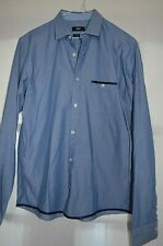 HUGO BOSS SLIM FIT BLUE WOVEN COTTON WORK/CASUAL SHIRT M