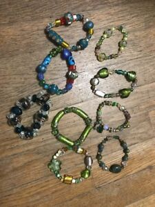 Lot Of 9 Handcrafted Chunky Bead Stretchy BRACELETS Charms Flower Rhinestone