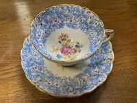 Vintage ROSINA Fine Bone China Tea Cup And Saucer Blue Floral England