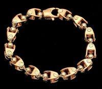 "Men's 14k Two Tone Gold Handmade Fashion Link Bracelet 9"" 9.5mm 68grams"