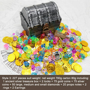 Party Favors Kids Toy Props With Lock Pirate Treasure Chest Gems Home Decoration