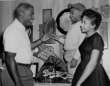 BROOKLYN DODGERS JACKIE ROBINSON AT HOME WITH HIS WIFE AND SON