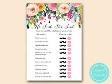 10 x PRINTED - Floral Chic Bridal Shower He Said She Said Game BS138