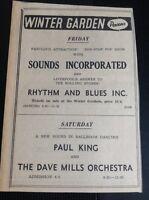 F9-1 Ephemera 1965 Advert Winter Gardens Cornwall Paul King Dave Mills Sounds In