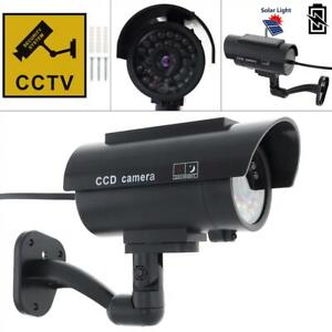 Outdoor Solar Power Dummy Fake Security CCTV Camera LED Light Surveillance Black