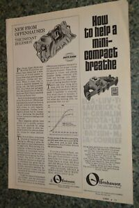 ★★1973 OFFENHAUSER PORT O SONIC INTAKE MANIFOLD ORIGINAL ADVERTISEMENT AD 73